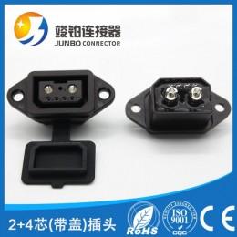 工厂直销4+2品字头插头 电动摩托车充电插座 可拆卸公母对接头