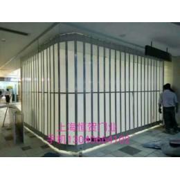 弧形铝合金折叠门,铝合金水晶卷帘门